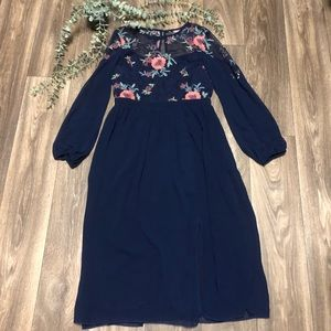 ASOS Little Mistress Navy Floral Embroidered Dress